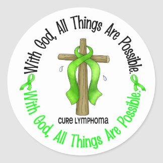 WITH GOD CROSS Non-Hodgkin's Lymphoma T-Shirts Classic Round Sticker