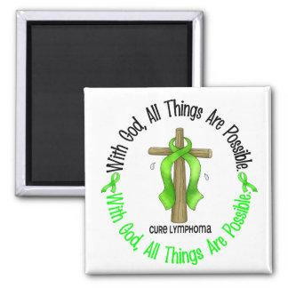 WITH GOD CROSS Non-Hodgkin's Lymphoma T-Shirts Magnet