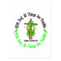 WITH GOD CROSS Non-Hodgkin's Lymphoma T-Shirts Postcard