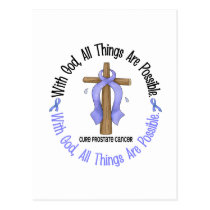 WITH GOD CROSS Prostate Cancer T-Shirts & Gifts Postcard