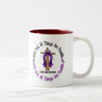 WITH GOD CROSS Sarcoidosis T-Shirts & Gifts Two-Tone Coffee Mug