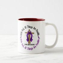 WITH GOD CROSS Sarcoidosis T-Shirts & Gifts Two-Tone Coffee Mug