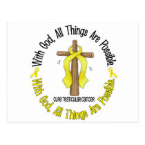 WITH GOD CROSS Testicular Cancer T-Shirts & Gifts Postcard