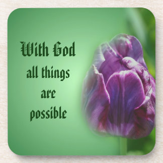 With God Floral Inspirational Coaster Set