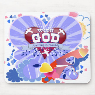 With God Hearts Mouse Pads