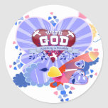 With God Hearts Round Sticker