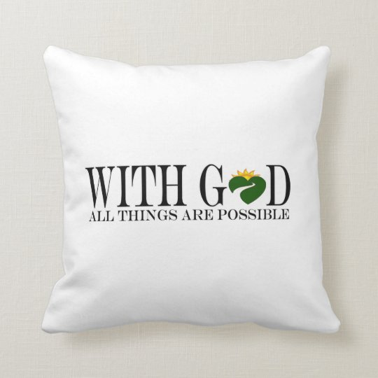 With GOD (Pillow- River Heart) Throw Pillow