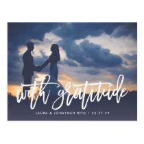 With Gratitude   Wedding Photo Thank You Postcard