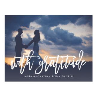 With Gratitude | Wedding Photo Thank You Postcard
