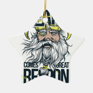 with great beard comes great responsibility ceramic ornament