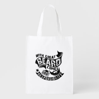 With Great Beard Comes Great Responsibility Reusable Grocery Bag