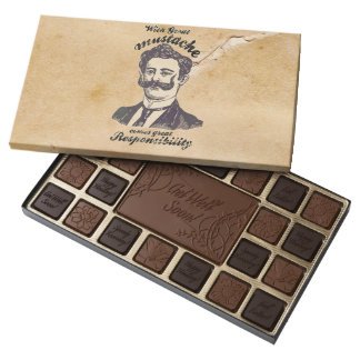 With great mustache, comes great responsibility assorted chocolates