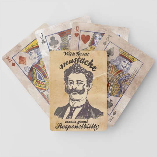 With great mustache, comes great responsibility bicycle playing cards