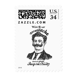 With great mustache comes great responsibility. stamp