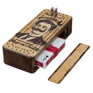 With great mustache, comes great responsibility wood cribbage board