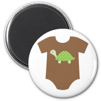 With Green Turtle 2 Inch Round Magnet