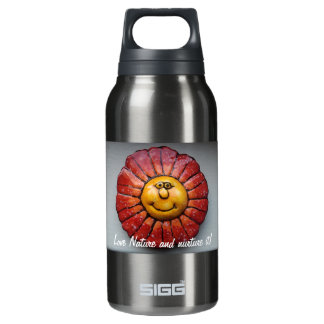 with hand-painted smiling flower insulated water bottle