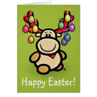 """With """"Happy Easter"""" cute Elmondo moose Tarjeta Pequeña"""