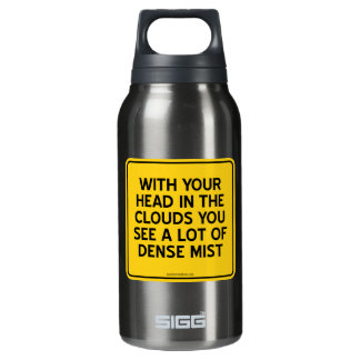 WITH HEAD IN CLOUDS YOU SEE A LOT OF DENSE MIST INSULATED WATER BOTTLE