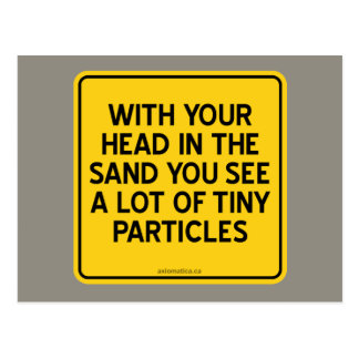 WITH HEAD IN SAND YOU SEE A LOT OF TINY PARTICLES POSTCARD