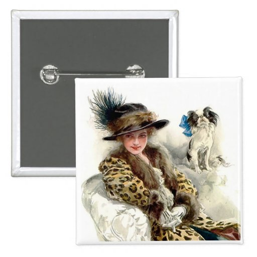 With Her Dog 2 Pinback Button