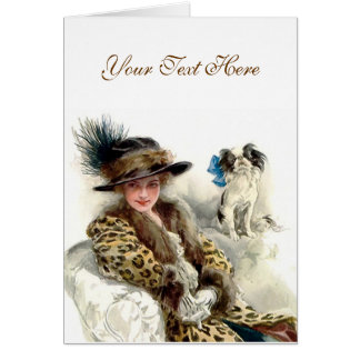 With Her Dog 2 Greeting Card
