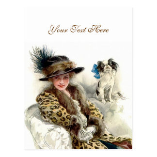 With Her Dog 2 Postcard