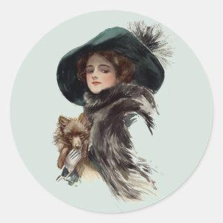 With Her Dog Round Sticker