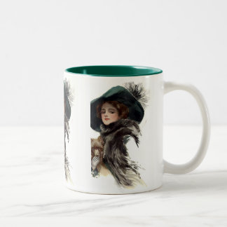 With Her Dog Two-Tone Coffee Mug