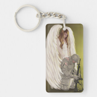 With Honor - Soldier and Angel Double-Sided Rectangular Acrylic Keychain