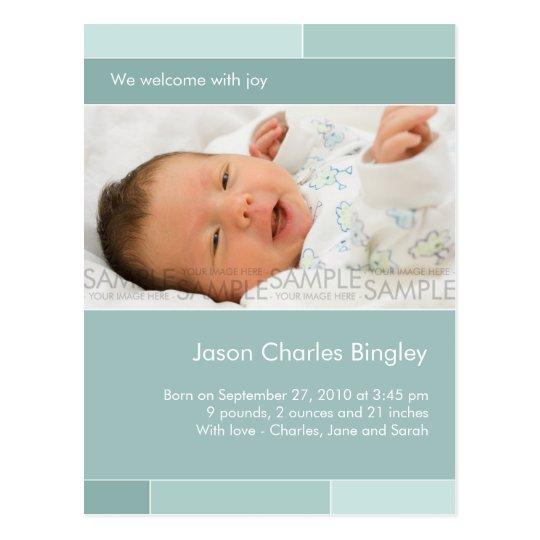 With Joy Blue/Aqua • Baby Announcement Postcard