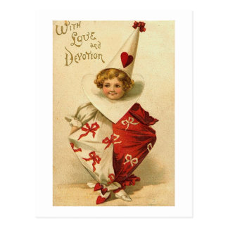 With Love and Devotion Valentine Clown Postcard