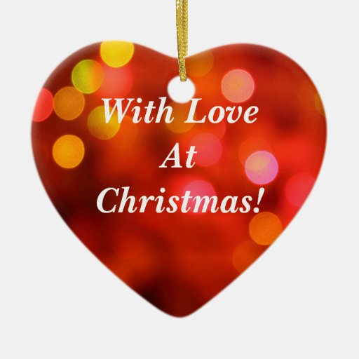 With Love At Christmas! Double-Sided Heart Ceramic Christmas Ornament