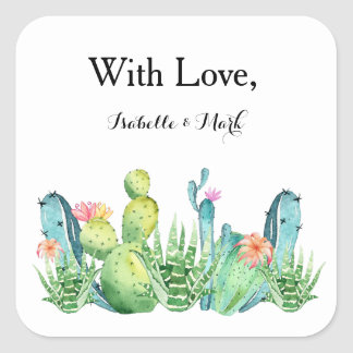With Love Boho Cactus Invitation Envelope Sticker