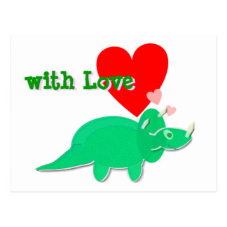 with Love Cute Dinosaur Triceratops Postcard