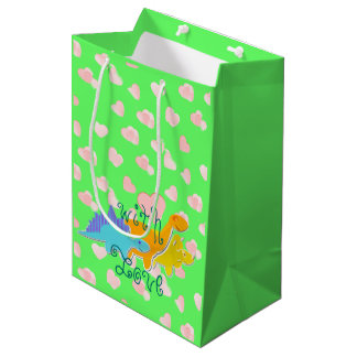 With Love Dinosaurs Hearts Pattern Medium Gift Bag