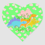With Love Dinosaurs Hearts Sticker