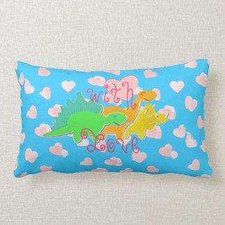 With Love Dinosaurs Sweet Hearts Lumbar Pillow