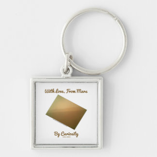 With Love, From Mars By Curiosity (Mars Landscape) Silver-Colored Square Keychain