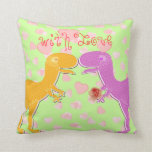 With Love From T-Rex Dinosaur Hearts Pillow