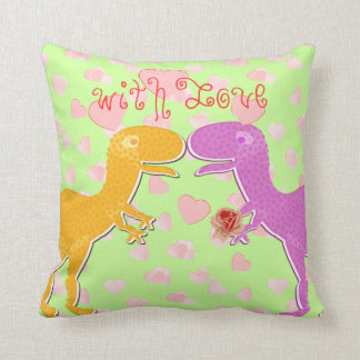 With Love From T-Rex Dinosaur Hearts Pillows