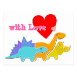 with Love Heart Cute Dinosaurs Postcard