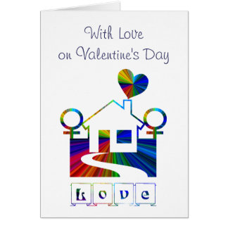 with love on valentines day lesbian card