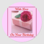With Love on your Birthday Classic Round Sticker