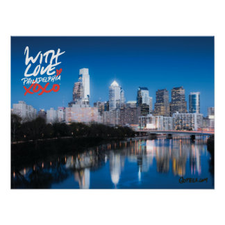 "'With Love' Skyline Poster, 18"" x 24"""