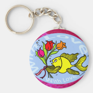 With Love Sparky Fish cute funny comic Gift Keychain