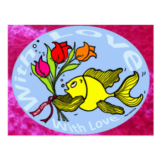 With Love Sparky Fish cute funny comic Gift Postcard