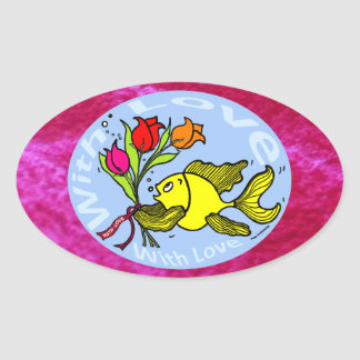 With Love Sparky Fish cute funny comic Gift Sticker
