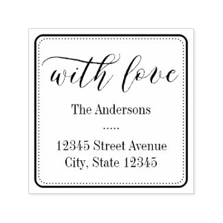 With Love Square Personalized Rubber Stamp