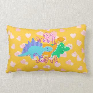 With Love Sweet Hearts Dinosaurs Lumbar Pillow